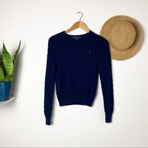 Ralph Lauren Navy Blue Cable Knit Crew Sweater